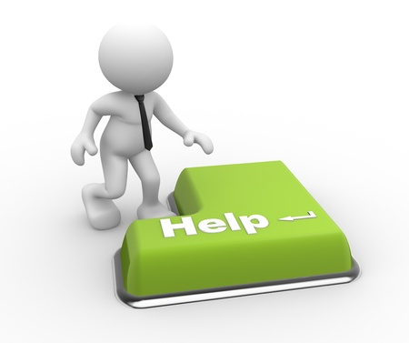 3d Menschen - ein Mann, Person mit einer Tastatur und Text Hilfe