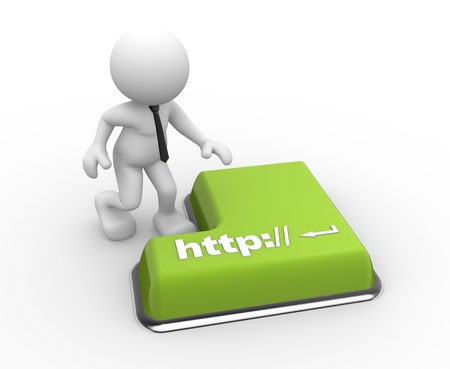 http: 3d people - man, person  with a keyboard and text http: Stock Photo
