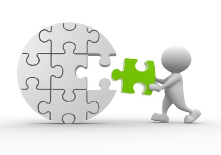 last: 3d people - man, person with last  pieces of puzzle Stock Photo