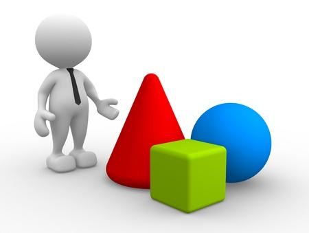 3d Menschen - ein Mann, Person mit geometrischen Formen - Kreis, Kegel, quadratische