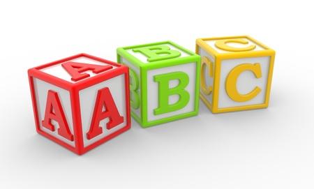 letter box: 3D alphabet ABC cubes. 3d render