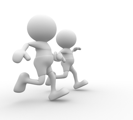 crosscountry: 3d people - men, person running together. Friends