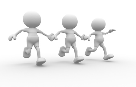 3d people - men, person running together. Friends