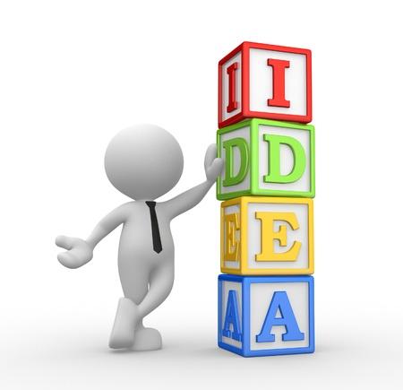 3d personnes - homme, personne et des cubes avec «l'idée»