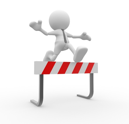 impediment: 3d people - man , person jump over the barrier. Businessman
