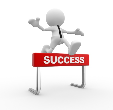 good business: 3d people - man, person jumping over a hurdle obstacle entitled success.