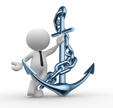 mooring anchor: 3d people - man, person with metal anchor and chain Stock Photo