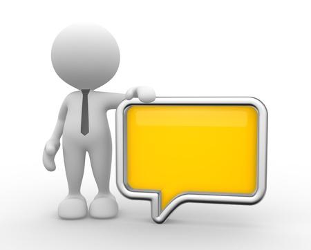 3d people - man, person with a blank speech bubble. Communication concept Фото со стока