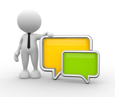 3d people - man, person with a blank speech bubble. Communication concept Stock Photo - 17276622