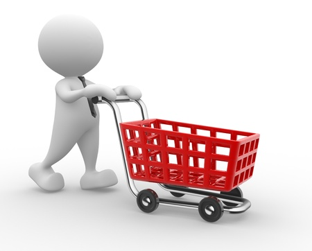 sopping: 3d people - man, person with shopping cart.  Stock Photo