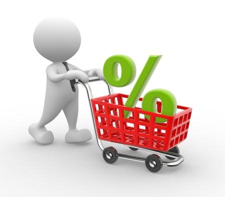3d Menschen - ein Mann, Person mit Warenkorb und Prozent-Zeichen. Zeit zum Einkaufen Standard-Bild