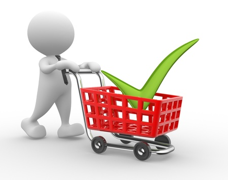 3d people - man, person with shopping cart. Time to shopping Stock Photo - 17276640