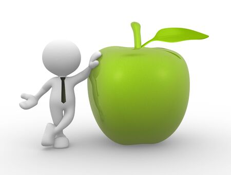 winesap apple: 3d people - man, person with an green apple  Stock Photo