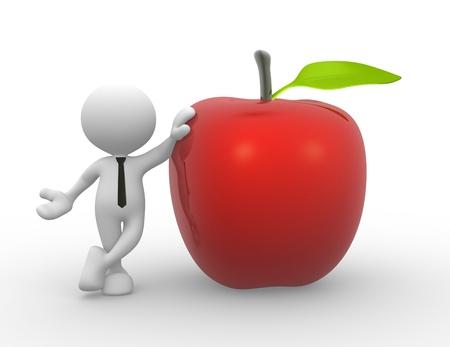 3d Menschen - ein Mann, Person mit einem roten Apfel Standard-Bild