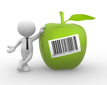 winesap apple: 3d people - man, person with an green apple and barcode