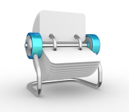 rotative: Carnet d'adresses rotation 3D. Carte Rotary. Rendu 3d