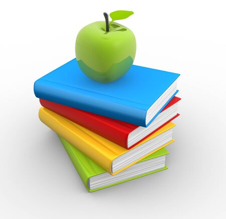 knowledge clipart: 3d  pile of books with an apple on top  3d render