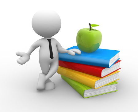 3d people - man, person with pile of books and an apple on top