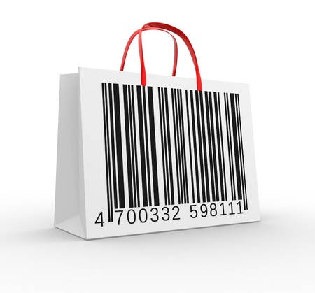 Bag with barcode  3d render  Stock Photo