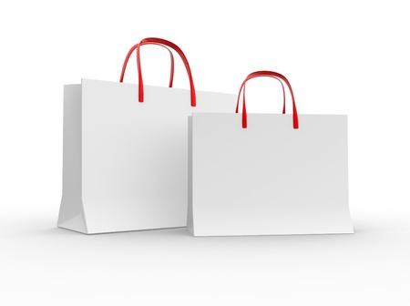white paper bag: 3d shopping bag  3d render Stock Photo