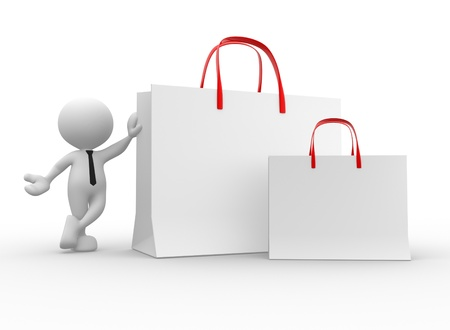 3d people - man, person with shopping bag