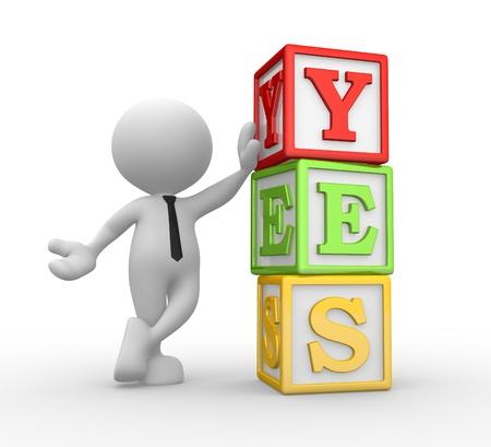3d people - man, person with cubes and text YES Stock Photo - 17276631