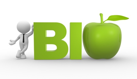 3d people - man, person with a green apple. Concept of bio photo
