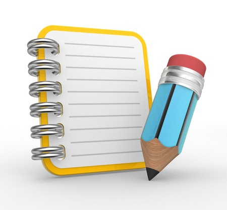 3d notebook and a pencil. 3d render Stock Photo - 17276676