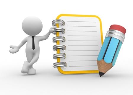 3d Menschen - ein Mann, Person und ein Notizbuch und einen Bleistift.