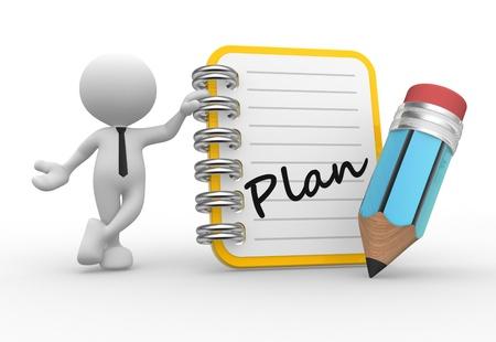 3d Menschen - ein Mann, Person und ein Notizbuch und einen Bleistift. Plan Standard-Bild