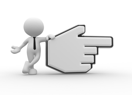 3d people - man, person pointing with big mouse cursor.