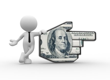 sales bank: 3d people - man, person pointing with hand cursor and 100  dollar.