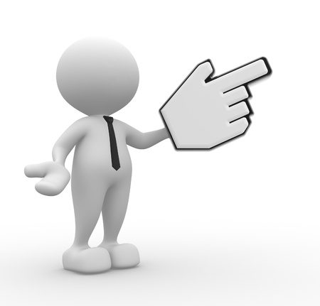 3d people - man, person pointing with big mouse cursor. photo