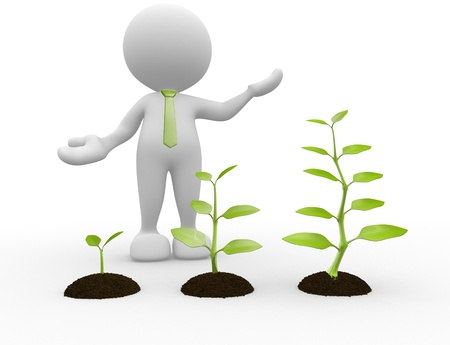 3d people - man, person with earth and plant. Seedling