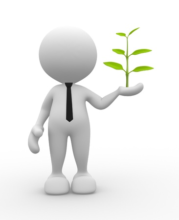 3d people - man, person with plant  in hand.