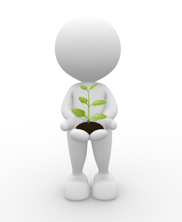 3d people - man, person with plant  in hands. Stock Photo - 17276655