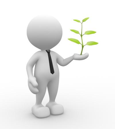 3d Menschen - ein Mann, Person mit Pflanze in der Hand Standard-Bild