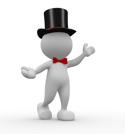 3d people - man, person with hat and a bow-tie. Gentleman photo
