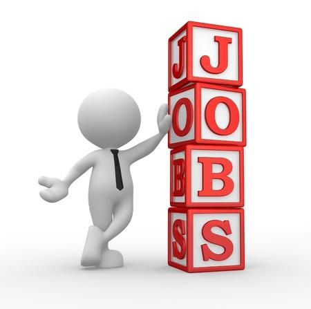 """3d Menschen - ein Mann, Person mit Würfeln und Wort """"Jobs"""" Standard-Bild"""
