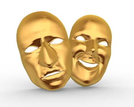 comedy disguise: 3d golden happy and sad entertainment masks. 3d render