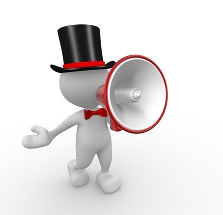 3d Menschen - ein Mann, Person mit einem Megaphon