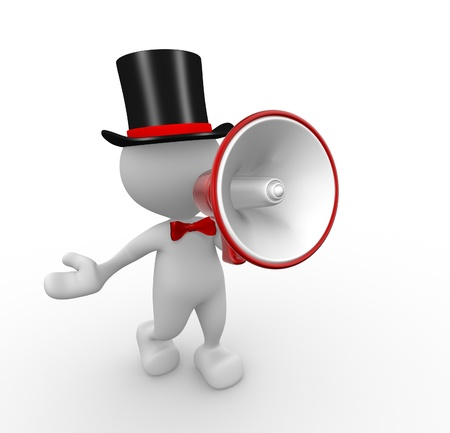reproach: 3d people - man, person with a megaphone Stock Photo