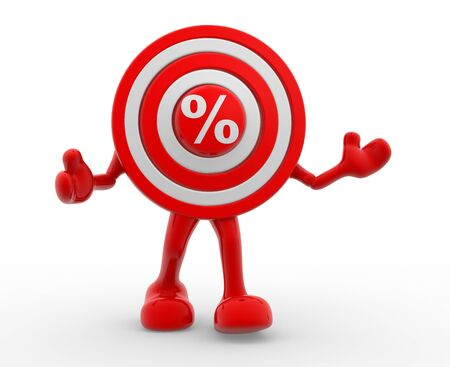 targeted: 3d target and percent sign - %. 3d render Stock Photo