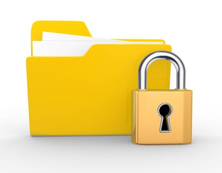 3d folder and a lock. 3d render Stock Photo - 17276692