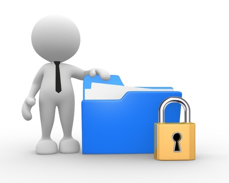 document management: 3d people - man, person with a folder and a lock.