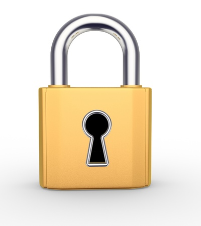 3d padlock with keyhole. 3d render photo