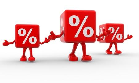 reduce taxes: 3d percentage sign. %. 3d render
