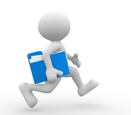 amused: 3d people - man, person with a folder, running. Businessman. Stock Photo