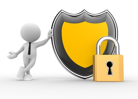 closed sign: 3d people - man, person with a shield and a lock. Secure concept Stock Photo