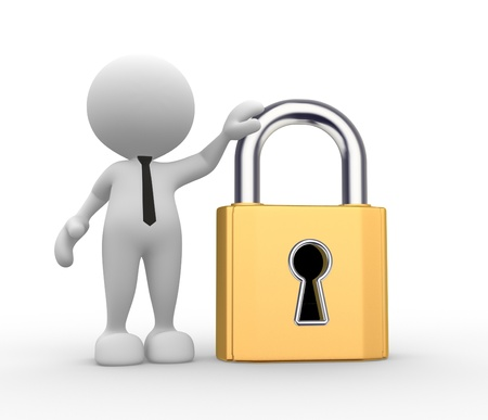 3d people - man, person with a lock. Stock Photo - 17341843